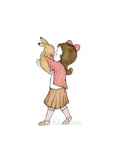 Children's Art  Bunny Kiss B 8x10  Art Print by trafalgarssquare, $10.00
