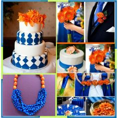 Cobalt Blue & Orange Wedding