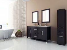 Sirius Contemporary Double Sink Bathroom Vanity With Stone Top