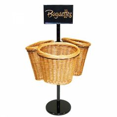 """36""""H 1 Tier 3 Oval Willow Basket and Floor Stand Display Rack for Baguettes"""
