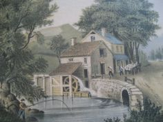 The Roadside Mill, 1869 Water Wheels, Currier And Ives, Water Mill, House Art, Victorian Era, Art Pictures, Artsy Fartsy, America, Artists