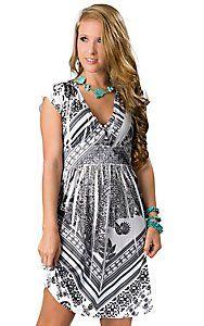 Panhandle Slim® Women's White and Black Sublimation with Rhinestones Short Sleeve Dress