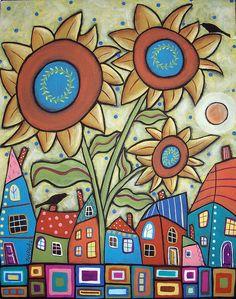 (usa) Sunflower town by Karla Gerard. Karla Gerard, Paint And Drink, Illustration Art, Illustrations, Arte Popular, Hand Art, Naive Art, Whimsical Art, Rock Art