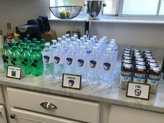 Beverages for a Minecraft themed birthday party.  Click to get all the details for food, party favors, signs, and activities (including free printables) on FabEveryday.com.