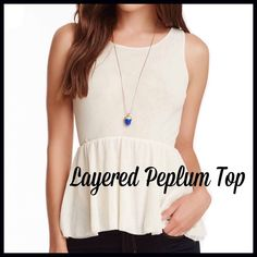 "Ivory Peplum Top Crew neck - Sleeveless - Peplum waist - Stretch construction - Approx. 25"" length Fiber Content: 100% nylon Fit: this style fits true to size.  Model's stats for sizing: - Height: 5'10"" - Bust: 34"" - Waist: 24"" - Hips: 35"" Model is wearing size S. Sweet Pea Tops"
