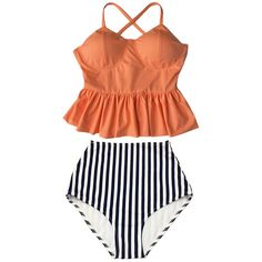 Old Rose Long Peplum Hem Top and Stripes High Waisted Waist Shorts... (€37) ❤ liked on Polyvore