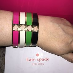 TAKE 25-40% OFF Kate Spade ♠️ Spade Bracelets NWTs ✨ Kate Spade ♠️ Spade Hole Punch Bracelets in Pink, White, Green & Black NWTs • $58 Each • Includes dust bags • smoke & pet free home • 20% donated to the American Cancer Society  4th of July Sale: 1  item = 25% Off, 2 items = 30% Off, 3 items = 35% Off, 4 items = 40% Off  Thanks & Happy Poshing! ✨ kate spade Jewelry Bracelets