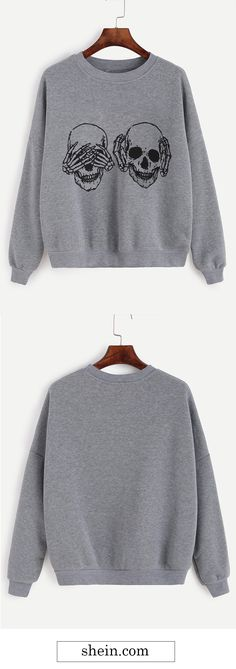 Grey Skull Print Drop Shoulder Sweatshirt