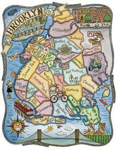 Brooklyn New York Map Art Print 11 x 14 by SepiaLepus on Etsy