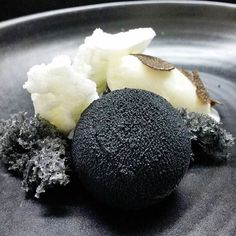 An out of this world black and white sponge cake, caramelized chocolate, and truffle ice cream by @reonhobson #TheArtOfPlating