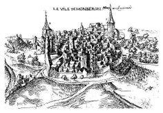 Vue de Montbron en 1609, dessin de Joachim Duviert