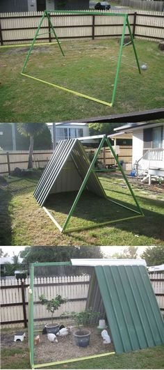 An Old Swing Set Frame Turned Into A DIY Chicken Coop…   http://www.ecosnippets.com/diy/swing-set-turned-into-chicken-coop/