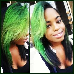 Love this look Neon Green Hair, Green Hair Girl, Girl Short Hair, Curly Hair Tips, Curly Hair Styles, Natural Hair Styles, Braids For Kids, Braids For Long Hair, Weave Hairstyles