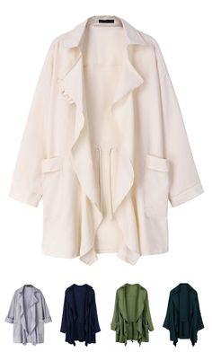 Casual Women Long Sleeve Drawstring Elastic Lapel Jacket