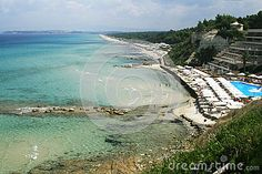 Photo about Beach in Halkidiki , Greece, Sani Resort. Image of chairs, climate, beauty - 61016310 Sani Beach, Halkidiki Greece, Thessaloniki, Beach Hotels, Beach Club, Taxi, Stock Photos, Photography, Image
