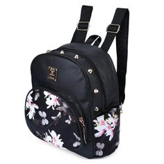 Fashion Women Backpack Cute School Bags Girls Mini Floral Printing Black shoulder bags Small PU Leather Backpack For Teenagers