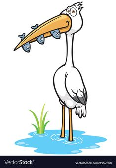 Crane Bird vector image on VectorStock Art Drawings For Kids, Bird Drawings, Kawaii Drawings, Drawing For Kids, Cartoon Drawings, Easy Drawings, Crane Drawing, Wall Drawing, Farm Coloring Pages