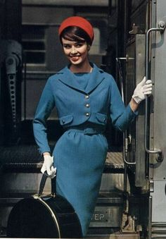 Sondra Peterson in a blue wool suit, 1958