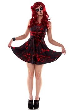 Black Splatter Skater Dress  75.00 AUD Living Dead Clothing 01be662ced