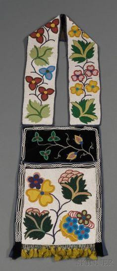 Great Lakes Beaded Cloth Bandolier Bag, Ojibwa