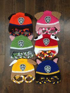 Paw Patrol haak karakter hoeden aangebracht in door KaileighKrafts
