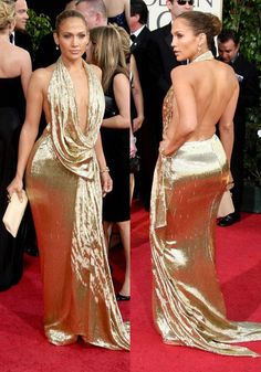 #Marchesa - #JenniferLopez in a gold Marchesa gown for the #GoldenGlobes