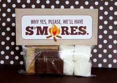 This is a great smores treat bag, and includes the download for the free printable.