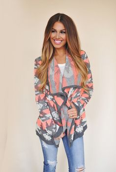 Pink/Ivory/Grey Open Sweater - Dottie Couture Boutique