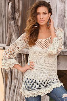 Boston Proper Crochet ruffle sweater - crochet PATTERN, detailed instructions for sizes: S, M, L, XL, XXL