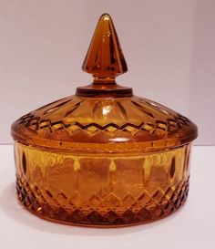 Mama had a clear glass one. Antique Glassware, Antique Dishes, Copper Canisters, Diamond Point, Amber Glass, Clear Glass, Indiana Glass, Apothecary Jars, Carnival Glass