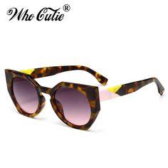 WHO CUTIE Irregular Polygon Cat Eye Sunglasses Women Brand Designer Vintage Contrast Color Cateye Shades OM428