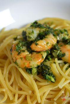 Spaghetti aux crevettes persillées