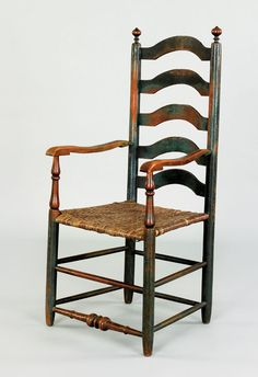 Pook & Pook.  October 30th 2010.   Lot 28.  Estimated: $2K - $4K.   Realized Price: $3081.   Delaware Valley five slat ladderback armchair, late 18th c., with arched slats and a ball & ring turned front stretcher, retaining an old green over blue surface.
