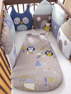Tour de lit modulable bébé thème T'hibou BLEU - vertbaudet enfant