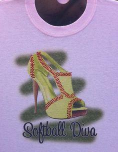 Softball Diva Shirt with Rhinestone by ArtbeatAirbrushing on Etsy, $30.00