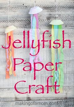 This darling Jellyfish Paper Craft is a cheap and easy craft to make with your kids. Perfect as an activity or party decorations.