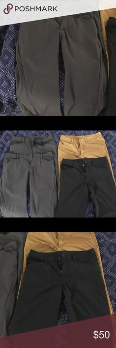 """Lululemon ABC pants 3 pants available , 2 gray and 1 black. $50 per pair. Size 32"""" waist by 30"""" inseam. All in great condition only worn 1-2 times lululemon athletica Pants Chinos & Khakis"""