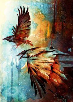 'Crows in Flight' Poster by Barrett Biggers | Displate Nature Posters, Thing 1, Animal Posters, Poster Making, Metal Wall Art, Cool Artwork, New Art, Original Artwork, Fine Art Prints
