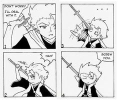 So this is why Captain Hitsugaya's zanpakuto sheath disappears when he draws Hyorinmaru. So much better than to have this happen in battle, rofl!