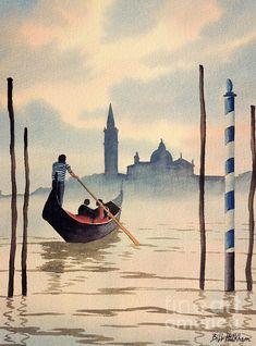 'San Giorgio Island Venice' by bill holkham Watercolor Sunset, Watercolor Landscape, Watercolor Paintings, Watercolors, Venice Painting, Italy Painting, Grand Canal Venice, Watercolor Architecture, Venice Travel