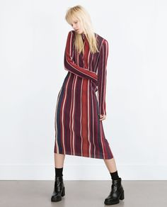 STRIPED DRESS WITH PLEATS - COLLECTION - WOMAN - PROMOTIONS | ZARA United Kingdom
