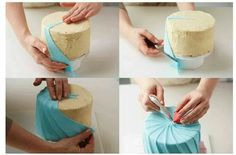 Fondant pleat to cover a birthday cake. Good diy tips.