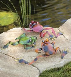 Frog Metal Yard Accents, Set of 3