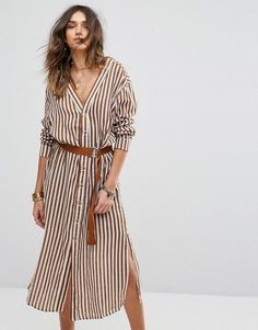 Get this Moon River's shirtwaist dress now! Click for more details. Worldwide shipping. Moon River Stripe Button Down Shirt Dress - Brown: Dress by Moon River, Woven cotton, V-neck and back, Dropped shoulders, Press stud placket, D-ring belt, Side splits, Regular fit - true to size, Hand wash, 100% Cotton, Our model wears a UK S/EU S/US XS and is 176cm/5'9.5 tall. Inspired by the song, lifestyle label Moon River is your go-to for clean, vintage style. With a love of natural flowing…