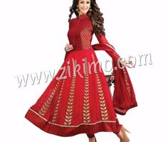 DESIGNER EMBROIDERED GEORGETTE RED AND GOLDEN SEMI-STITCHED ANARKALI WITH CHIFFON DUPATTA