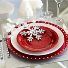 Red, White & Silver Christmas Table Setting  Snowflakes can be diecut and gems can be added.  White trees can be snowflakes stacked or stars stacked made of felt. Or dollar store items. B
