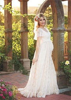 816d565dd6baa Photography Maternity Dress, Bridal Gown, Chiffon Lace Long Dress Falbala  Short Sleeved High Waist