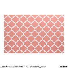 Coral Moroccan Quatrefoil Trellis Fabric