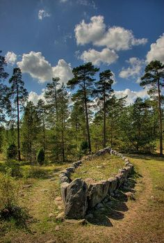 """Stone ship on Gotland, Sweden. """"Tjelvar's grave"""" was erected around 750 BC during the Nordic Bronze Age. According to a myth described in the Gutasaga, it is the grave of Tjelvar, the first person on Gotland. Nature Landscape, Old Cemeteries, Graveyards, Norse Vikings, Viking Age, Viking Ship, Iron Age, Ancient Artifacts, Ancient History"""
