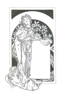 Spectacular Alphonse Mucha Coloring Pages
